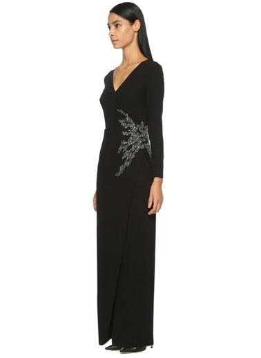 Taş İşlemeli Uzun Elbise-David Meister